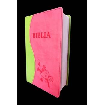 Biblia NTR, coperta ecologică moale, verde deschis/ roz, simplă, ştanţat Biblia şi floare.