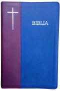 Biblie mare de lux în piele ecologică de culoare visiniu cu albastru, stantat Biblia cruce argintată pe margini, cuvintele lui Isus scrise cu roşu.
