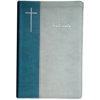 Biblie mare de lux în piele ecologică de culoare verde turcoaz cu gri, index de cautare, argintată pe margini, cuvintele lui Isus scrise cu roşu.