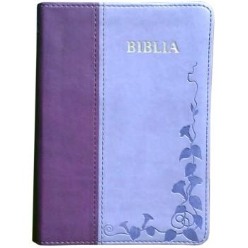 Biblie mica de lux in piele ecologica de culoare mov cu index de cautare argintata pe margini cuvintele lui Isus scrise cu roşu