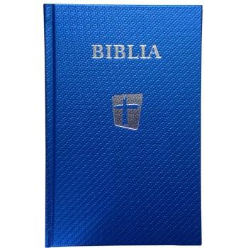 Biblia NTR, 2017 coperta cartonată,albastru sidefat,argintie pe margini si scris pe coperta.