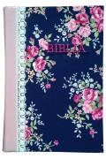 Biblie mijlocie aurita pe margini hand-made, material textil floral roz-bleumarin,cotor piele roz.