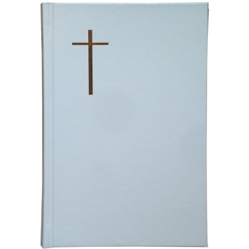 Biblie mijlocie de lux coperti cartonate de culoare alba, aurită pe margini, ştanţat cruce si harti