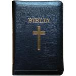 Biblie mijlocie de lux in piele cu index, fermoar culoare neagră, aurită pe margini, ştanţat cruce si BIBLIA.