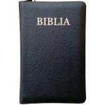 Biblie medie de lux cu index în piele cu fermoar culoare neagră, aurie pe margini ştanţat BIBLIA.