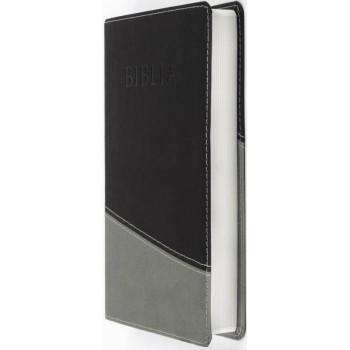 Biblia NTR, coperta ecologică moale, negru/gri, simplă, ştanţat Biblia.