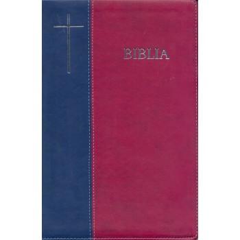 Biblie mare de lux în piele ecologică de culoare albastru inchis cu visiniu, index de cautare, argintată pe margini, cuvintele lui Isus scrise cu roşu.