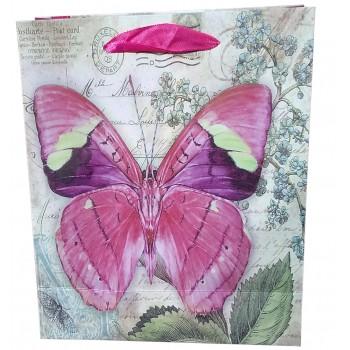 Punga cadou cu fluturi roz in relief