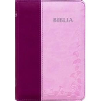 Biblia SBIR (Roz/Bordo, cu fermoar)